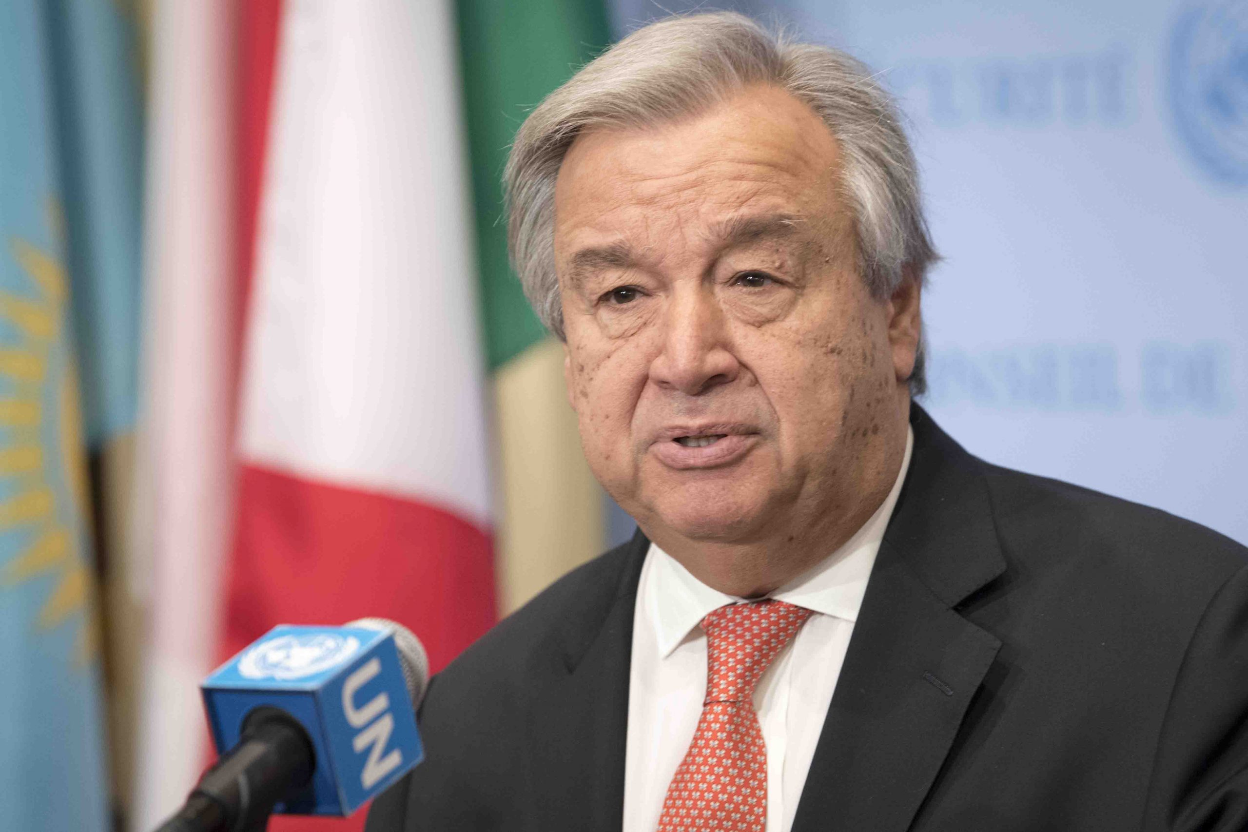 Secretary General antonio Guterres speaks to the media at Security council stakeout on the allegations of slavery in Libya