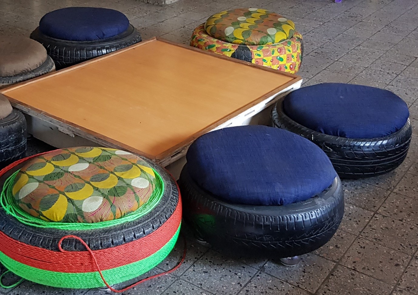 Seating area designed and made by the resident girls at Matumaini orphanage in Kinshasa, DRC, October 5, 2019 UN GLOBAL COMPACT NETWORK UK/Benafsha Delgado