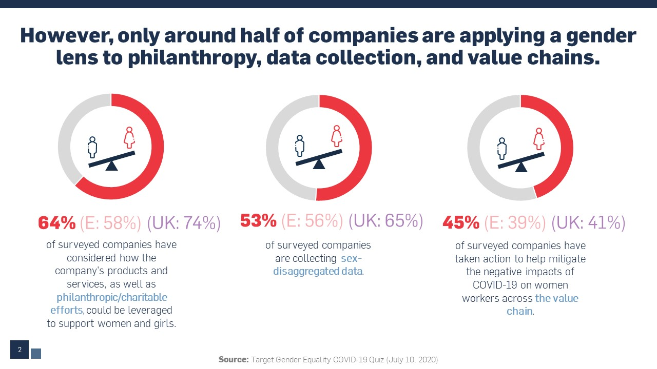 Visual accompaniment of statistics related to applying a gender lens to philanthropy, data collection, and value chains.